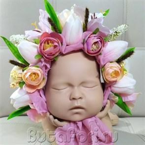 Цветочная шапочка для новорожденного - Тюльпан