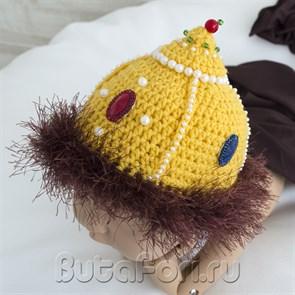 Вязаная шапка Мономаха для новорожденного