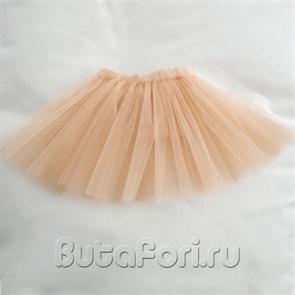 Персиковая юбочка из фатина для новорожденной