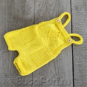 Желтый вязаный ромпер для фотосессии