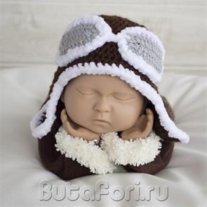Вязаная шапка пилота для фотосессии новорожденных