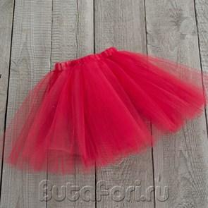 Красная юбочка из фатина для новорожденной девочки