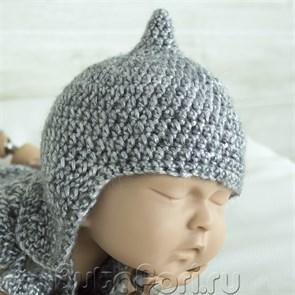 Вязаный шлем война для фотосессии новорожденных