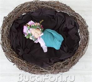 Большое плетеное гнездо для фотосессии новорожденного