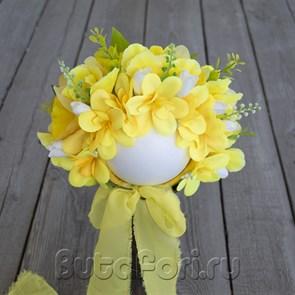 Желтая цветочная шапочка для фотосессии
