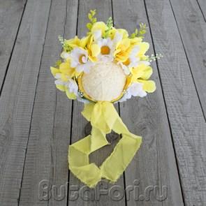 Цветочная шапочка с ромашками для ньюборн съемки