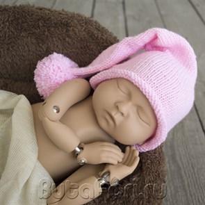 Розовая шапочка с помпоном
