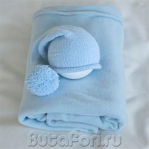 Голубой фон для фотосессии новорожденных и шапочка