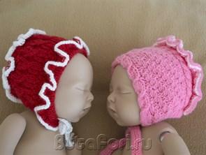 Вязаные чепчики для фотосессии новорожденных
