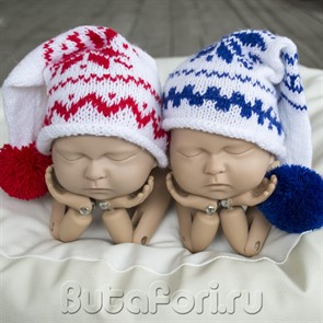 Новогодние шапочки для фотосессии близнецов