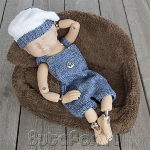 Вязаный костюмчик для морской фотосессии новорожденного
