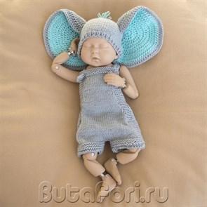 Вязаный костюмчик Слоненка для фотосессии новорожденных