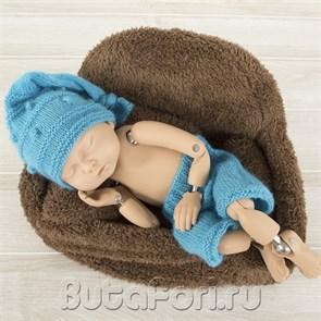 Интересный голубой костюмчик для новорожденного