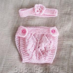 Розовые трусики с повязочкой для фотосессии новорожденной