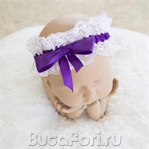 Повязочка бело-фиолетовая для новорожденной