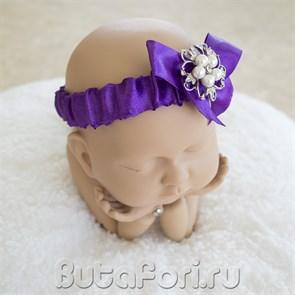 Повязочка для фотосессии новорожденной - Жемчужинки