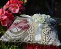 Винтажная подушечка для колец из хлопка