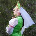 Кокошник зеленый с вуалью
